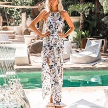 цена на 2019  Sexy Women Maxi Boho Dress Halter Neck Floral Print Sleeveless Summer Dress Ladies Holiday Long Slip Beach Dress Vestidos