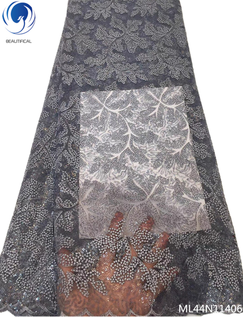 BEAUTIFICAL latest african sequin lace fabric 2019 grey color lace fabric for wedding sequin fabric lace 5yard/lot ML44N114