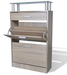 VidaXL простой и элегантный шкаф для обуви с 1 выдвижным ящиком, 1 верхним стеклянным верхом и 2 отделениями, Европейский органайзер для хранени...