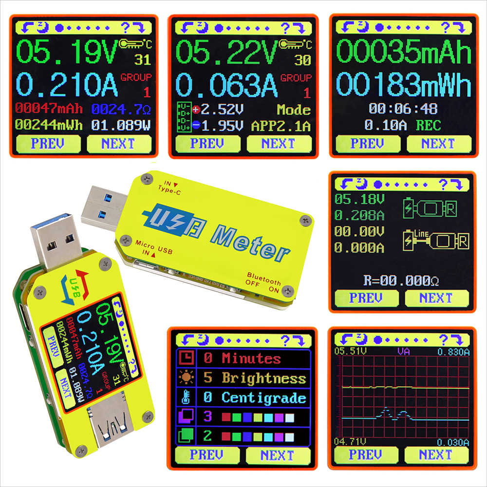 Rd um34 um34c para o aplicativo usb 3.0 tipo-c dc voltímetro amperímetro tensão medidor de corrente bateria carga medida cabo resistência tester