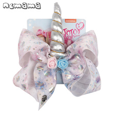 ncmama Hair Accessories 8 Large Bows for Girls Unicorn Clips Cute Handmade Flowers Horn Bowknot Party Kids Hairgrips