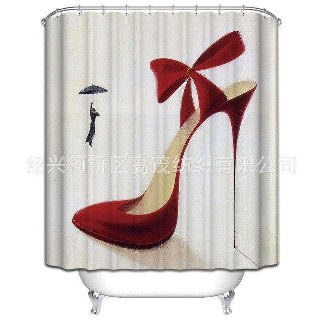 Personnalisé Rouge à talons hauts Chaussures Motif Rideau De Douche ...