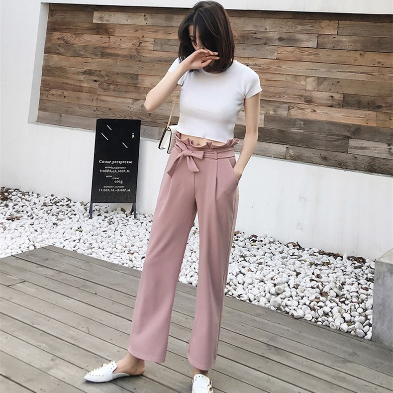 2019 Summer New   Wide     Leg     Pants   Women Vintage Belt Bow Pockets Loose   Pants   Pleated Casual Solid High Waist Trousers