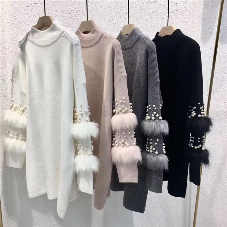 Faux Fur Embellished Long Sweater Long Sleeve Jumpers Pearls Turtleneck Pull Casual Pullovers Jersey Mujer Invierno