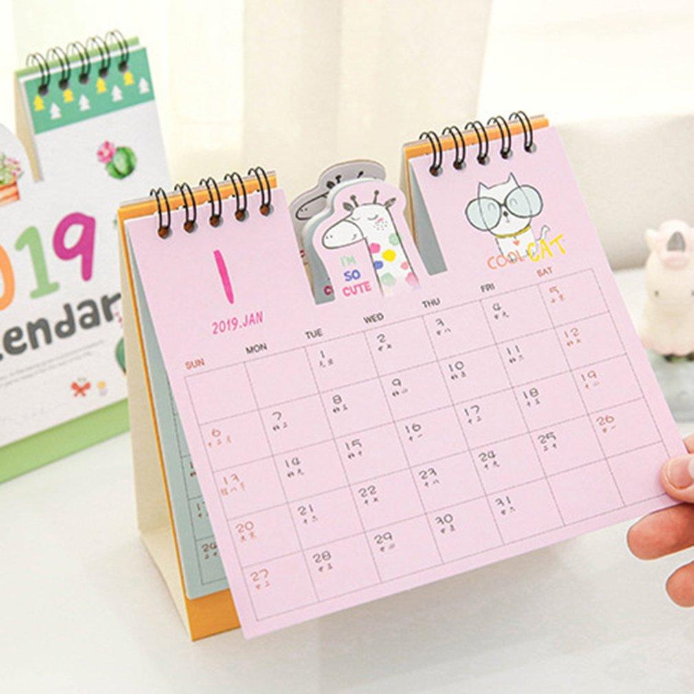 Calendar 2019 Cute Cartoon Desktop Paper Creative Desk Vertical Paper Multi-function Storage Box Timetable Plan Notebook F21 19 Dropship