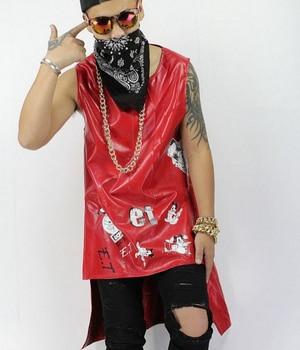 S-xxl 2020 New Leather Vest Men's Korean Fashion Slim Long Leather Vests Male Singer Performance Men Singer Costumes Clothing