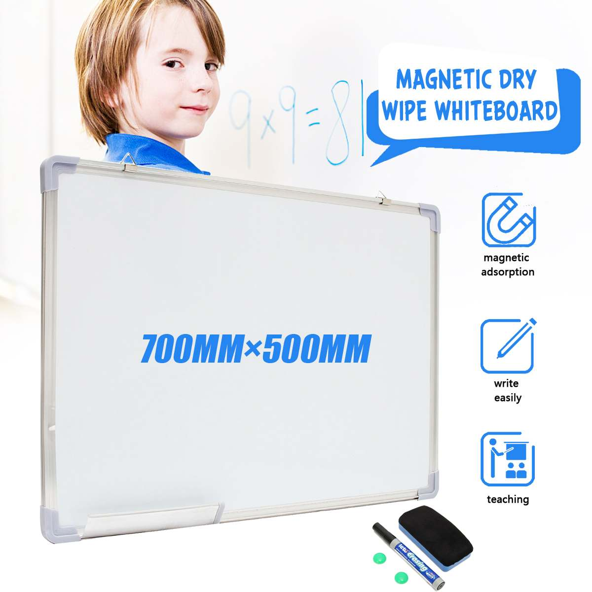 500x700MM Magnetic  Whiteboard Writing Board Double Side With Pen Erase Magnets Buttons For Office School