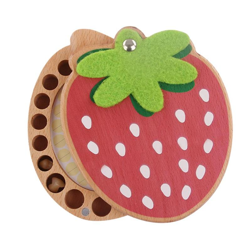 Baby Souvenirs Tooth Box Children Wood Teeth Box Organizer Baby Kids Strawberry Deciduous Teeth Storage Collect Wooden Box