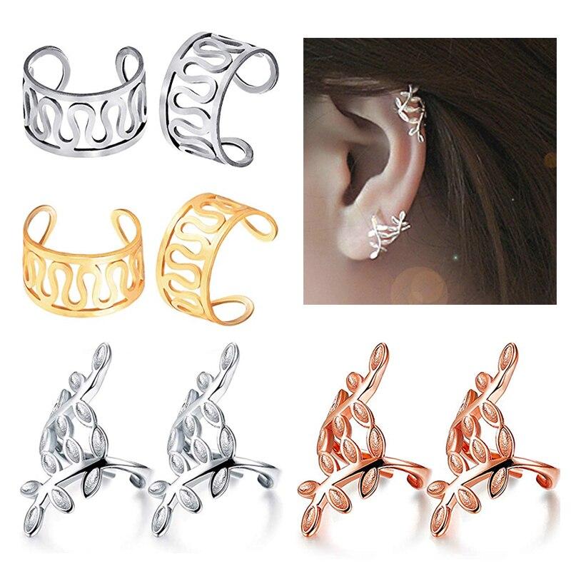 2pcs Ear Cuffs Non Piercing Hoop Ear Clips Fake Helix Cartilage Earrings Lobe ClipOn Unisex Child Body Jewelry Piercing Oreja