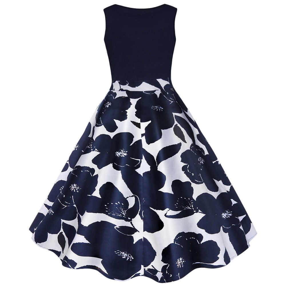 Rosegal sukienka damska plus size Floral wydrukowano Midi w stylu Vintage sukienki rozkloszowane V Neck Midi sukienka Vintage Flare piłka suknia wieczorowa vestidos