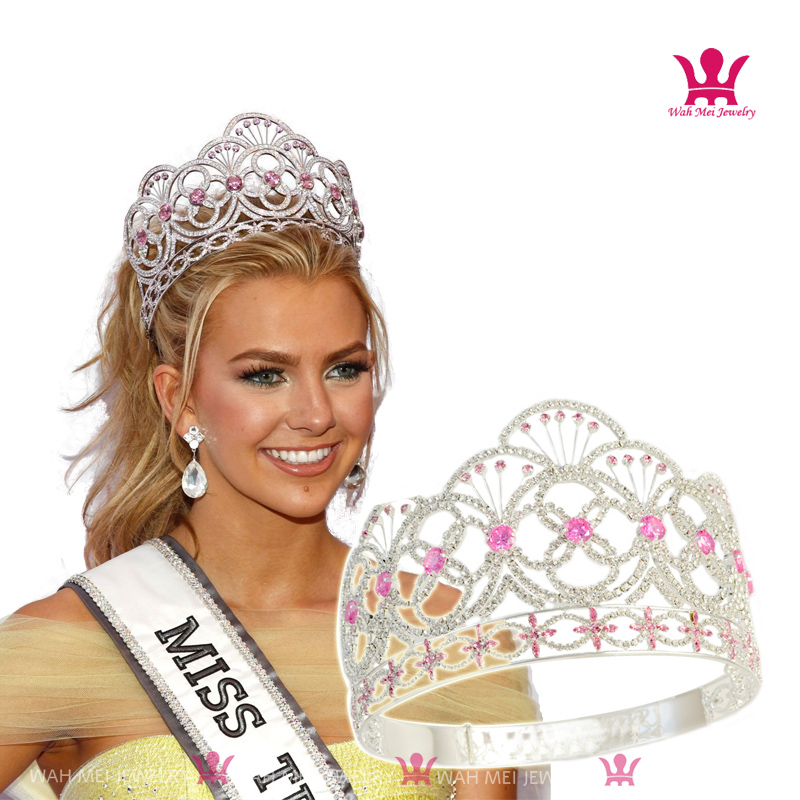 Miss Teen Crown Pink Colour CZ Stone Rhinestone Crystal Adjustable Headband Bridal Wedding Hair Jewelry Tiaras For Pageant Queen