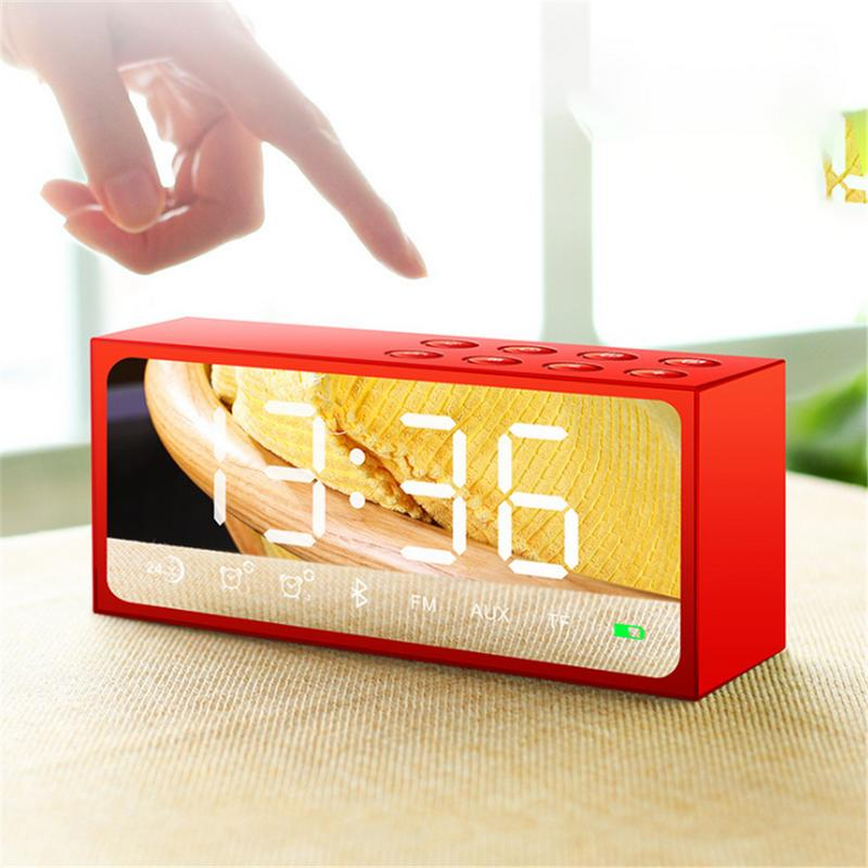 Wireless Bluetooth Speaker Mirror Display Alarm Clock Speaker Stereo Bass Voice Prompt Card Insertion Radio Call For Indoor