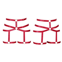 Punk Gothic Red Leg Harness Garter Belt Elastic Adjustable Lingerie Strappy Hollow Out Waist Stockings Suspender for Women