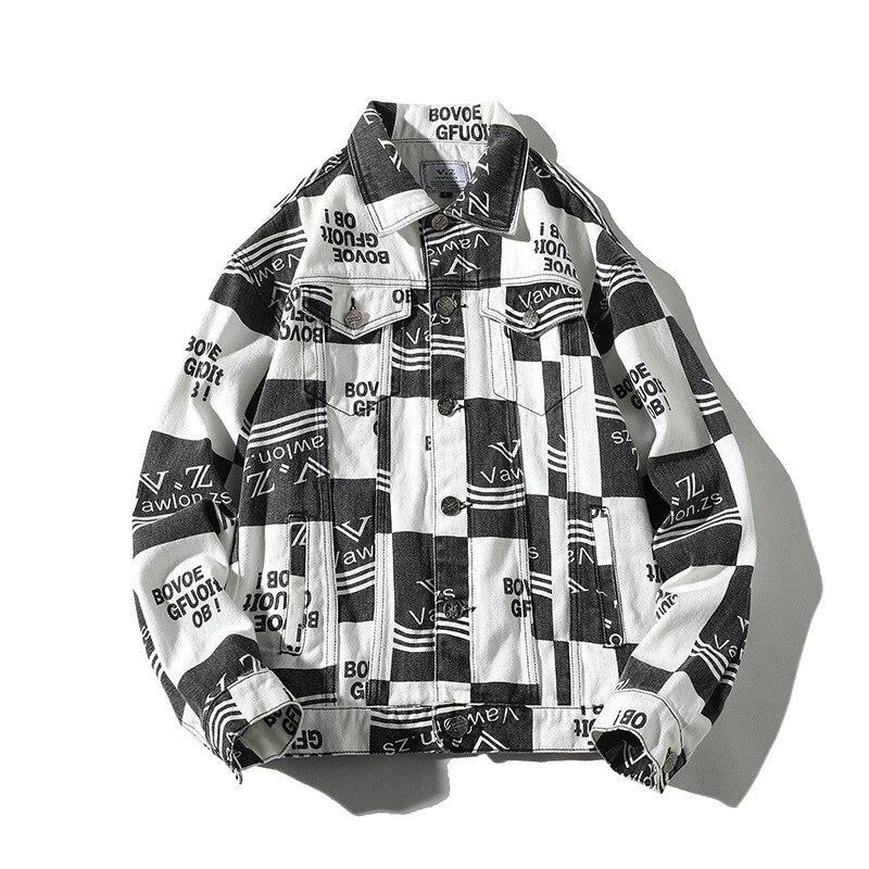#2979 printemps pleine lettres imprimé Streetwear Denim veste hommes à manches longues Harajuku lâche grande taille 4XL 5XL Hip Hop Jeans veste