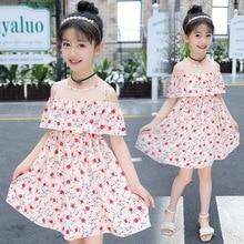 2018 New Pattern Baby Girl Dress Summer Chiffon Printing Shivering Strapless Princess Childrens Garment
