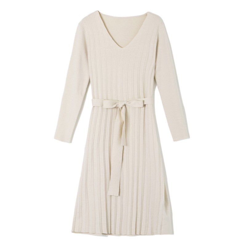 Makuluya chandail à manches longues en laine extensible pour femmes nouvelle Version coréenne robe tricotée plissée automne hiver printemps QW - 5