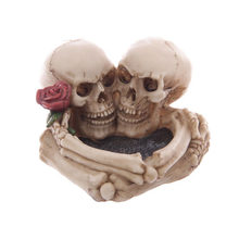 1pc Skull Ashtray Unique Spooky Resin Bar Decors Halloween Decors Smoking Room Accessories for Haunted House Bar Home(China)