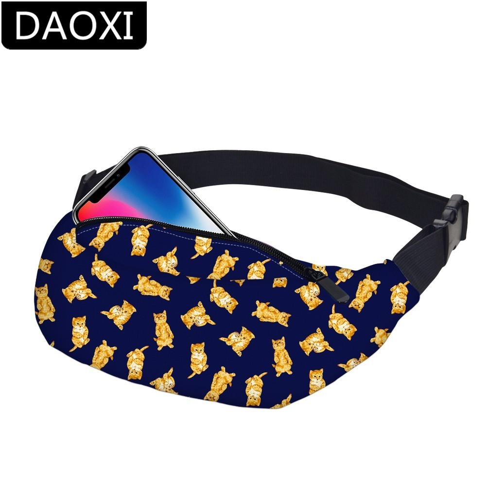 DAOXI Cat Waist Packs Waterproof Fanny Pack Adjustable Belt Hip Bum Bag Phone Pouch Gift For Travel  DXYB-32