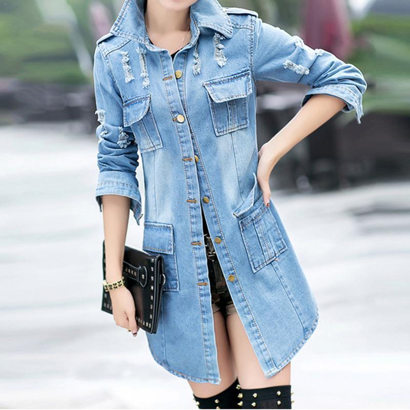 Female Medium Long Denim Jacket Korean Version Slim Fit Long Sleeve Blue Cardigan Large Size Loose Coat Casual Wild Denim Jacket