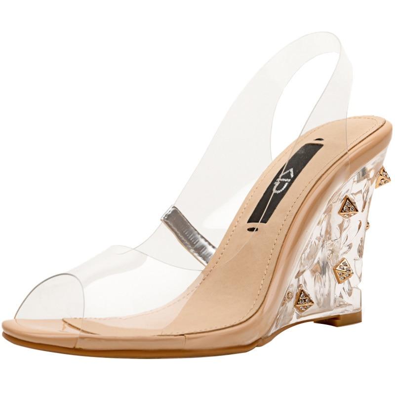 Sandalias Claro Pasarela As Alto De Tacón Pvc Las Transparente Bombas Fiesta Remaches Show Zapatos Cuñas Mujer Boda Mujeres qEPUBxdS
