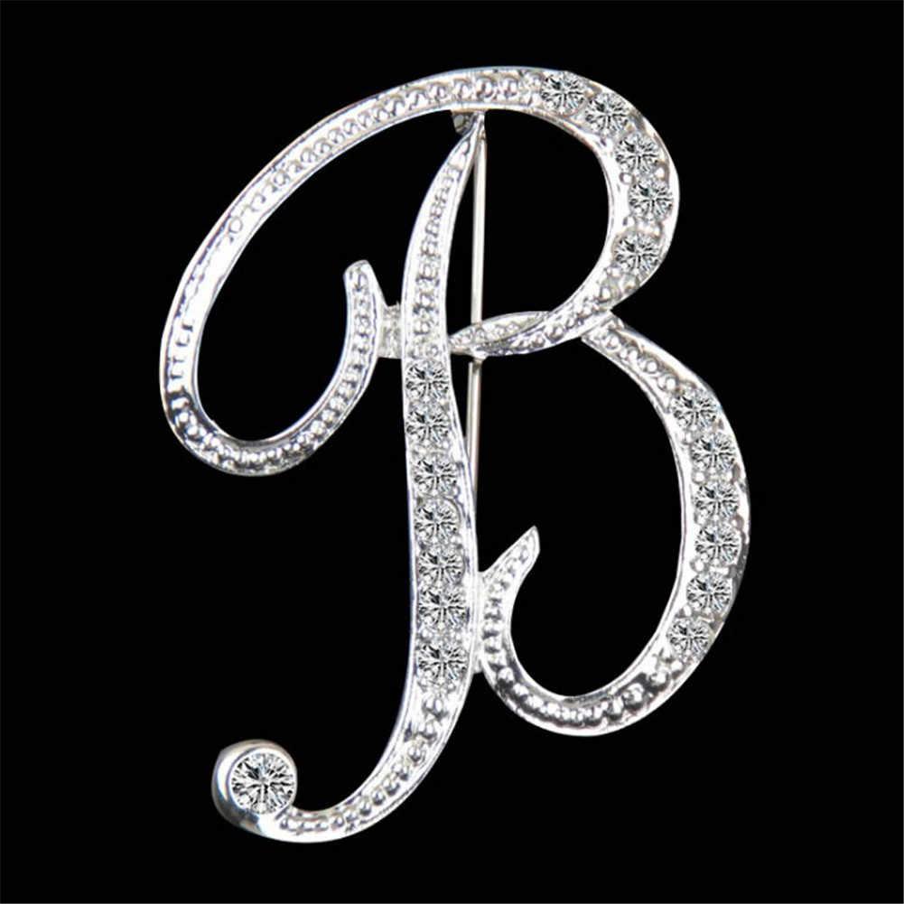 Креативные инициалы из кристаллов дизайн броши-Значки для лацкана личности английская буква горный хрусталь броши для костюма воротник ювелирные изделия