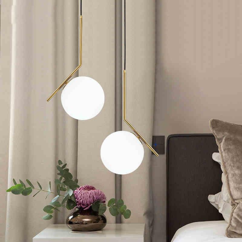 Moderne plafonnier pendentif lumières boule de verre lustre pendentif lampe luminaires intérieur éclairage décoration de la maison E27 220 V
