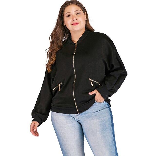 24a2e070439 Women Jacket Women Coat Fashion Plus Size Feather Print Bomber Female  Harajuku Long Sleeve Zipper Oversized Loose Windbreaker