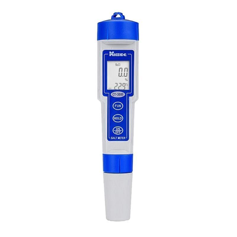 Waterproof Portable Salinometer Moisture PH Meters LCD Digital Salinity Tester Water Temperature Measure Tools