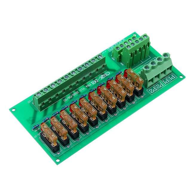 AC/DC 5 To 32V DIN Rail Mount 10 Position Power Distribution Fuse Holder Module Board