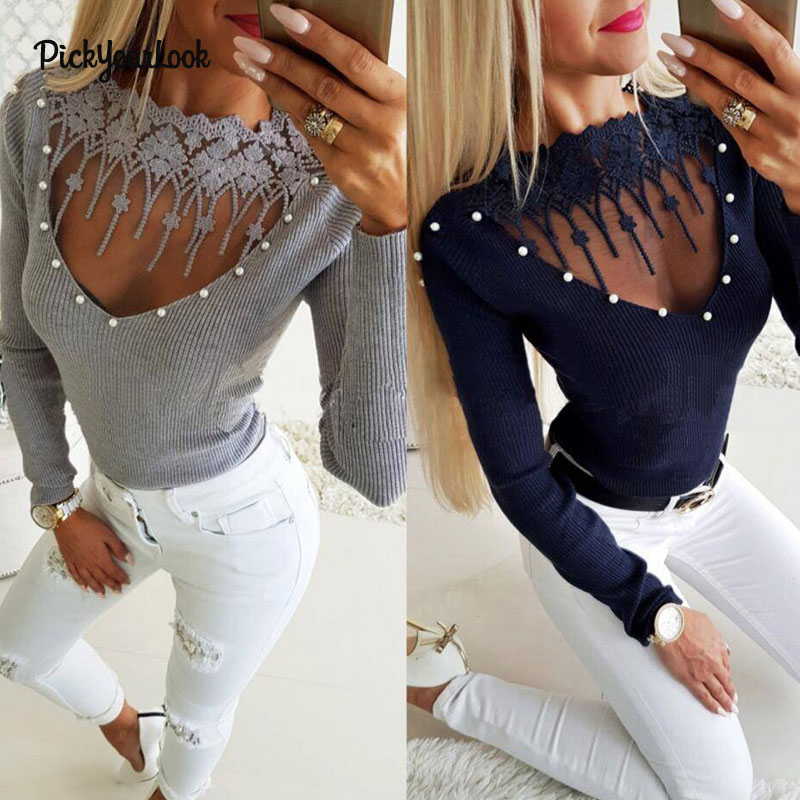 PickyourLook Lace Shirt Women Knitted Pullovers Long Sleeve Mesh Tops Beading T Patchwork tshirt Slim camiseta mujer