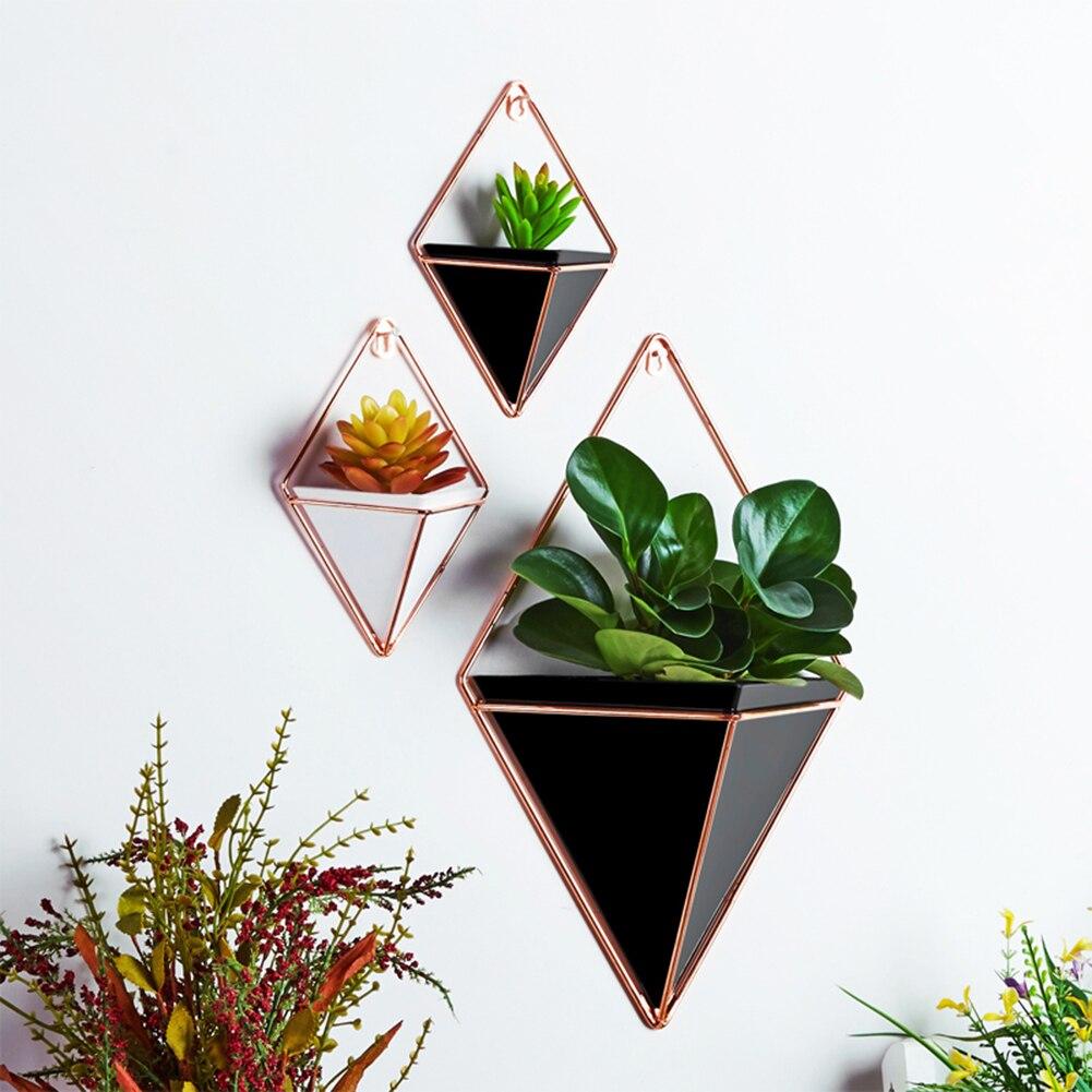 Colgante de pared de Rack de almacenamiento de hogar innovador interior habitación ornamento decoración jardín geométrica suculentas planta