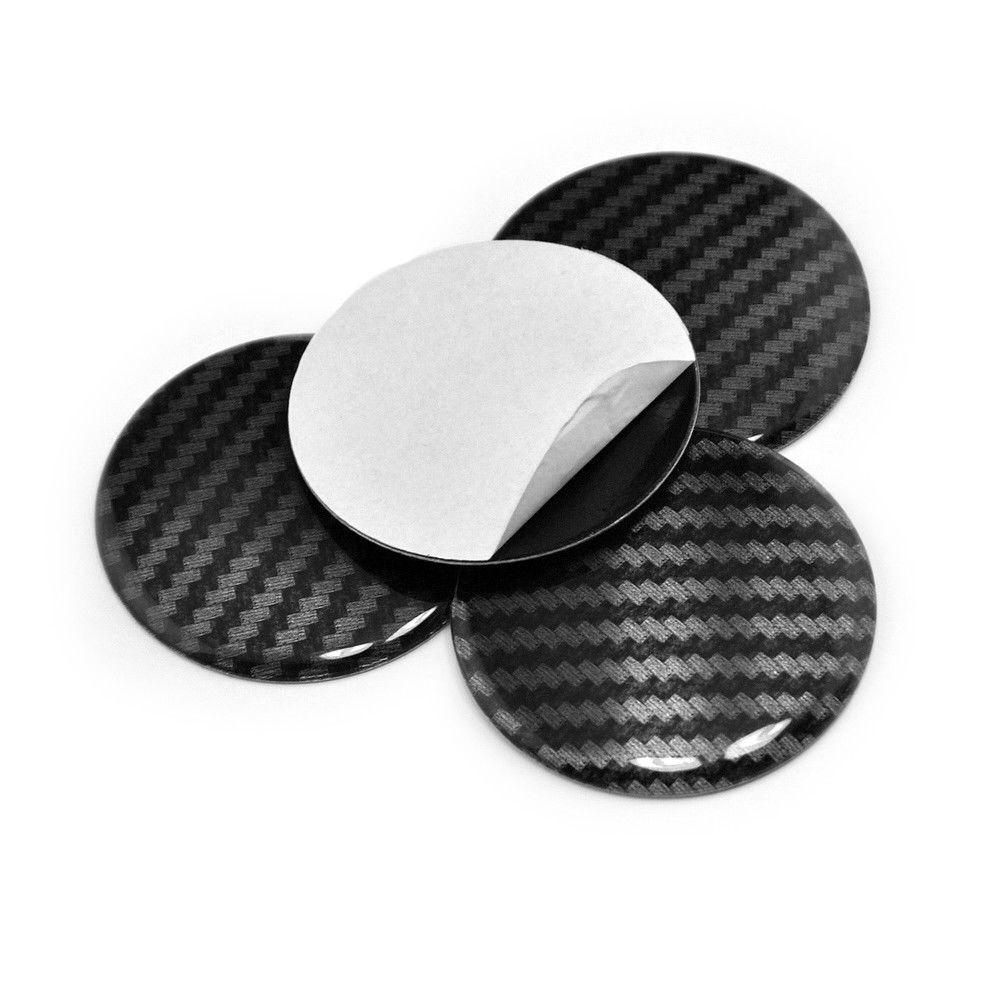 4x 45mm Carbons Fiber Aluminum Car Emblem Hub Wheel Center Cap Cover Sticker