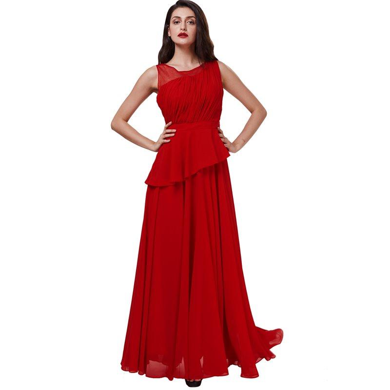 Dressv scoop long   evening     dress   red sleeveless a line floor length   dresses   women black chiffon draped formal prom   evening     dress
