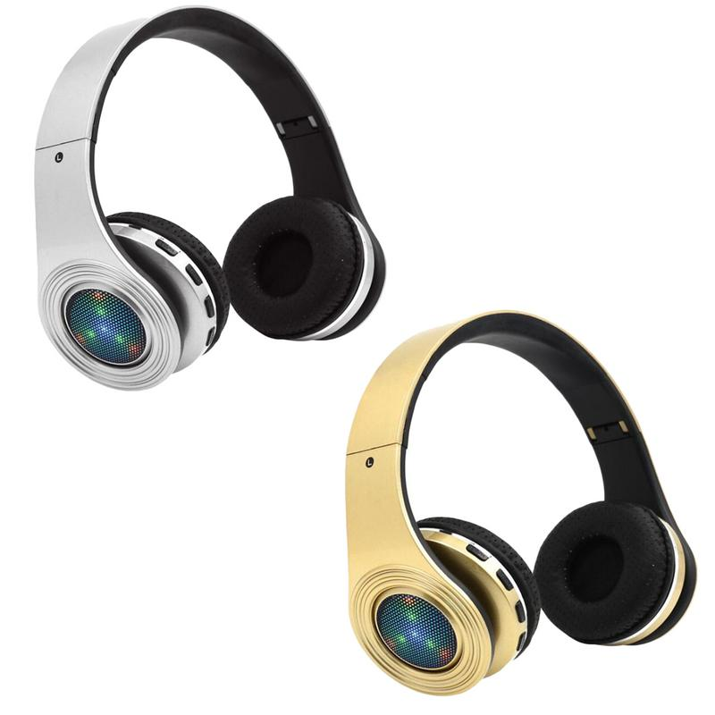 Portable Headphones Wirelelss Bluetooth Over Ear LED Headrsets 3D Stereo Sounds Foldable Devices With Mic Hands-free Calling