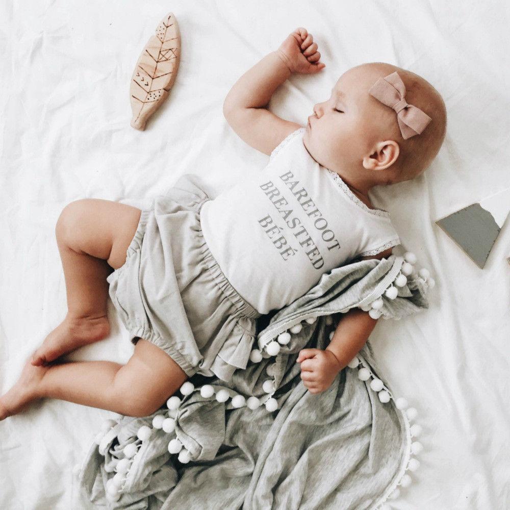Baby Muslin Swaddle Blankets Pom Pom Swaddle Wrap Newborn Photography Blanket New Baby Kids Candy Color Venonat Decor Blanket
