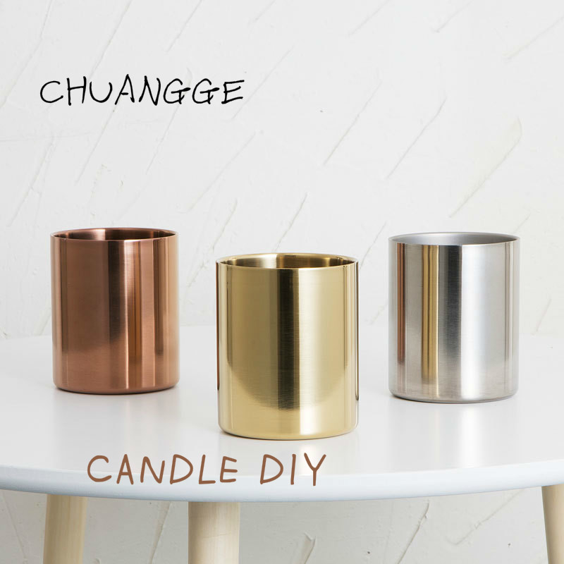 Steel Golden Vase Candle Jars Cup Ins Wind Northern Europe Rose Container Flower Cup Candles Making Valentines Day Wedding Decor