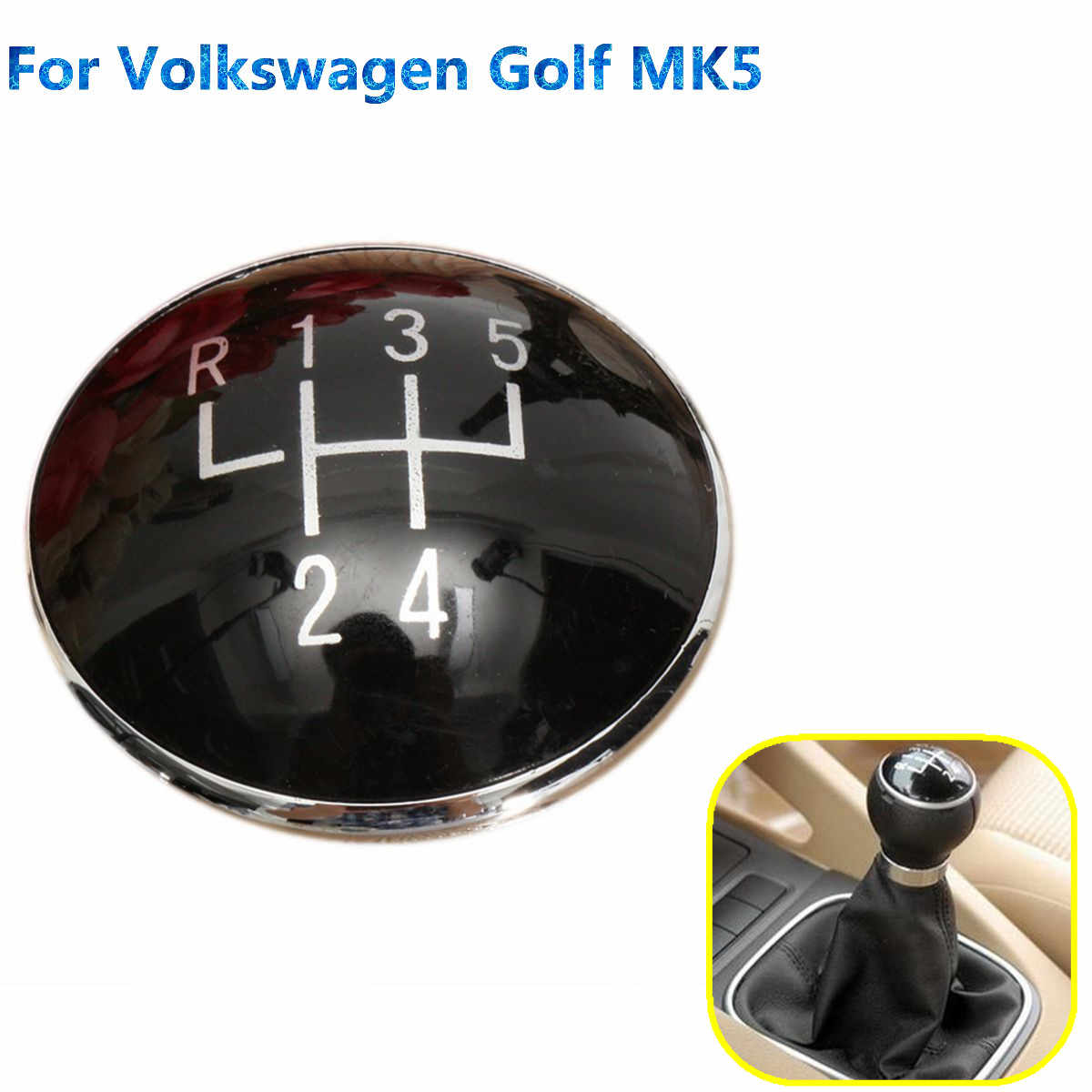 5 Speed Black Pookknop Emblem Badge Cap Fit Voor Volkswagen Golf V MK5 2003-2009