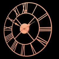 1Pc 40cm Large Rose Gold Face Metal Skeleton Wall Clock Roman Numerals Big New