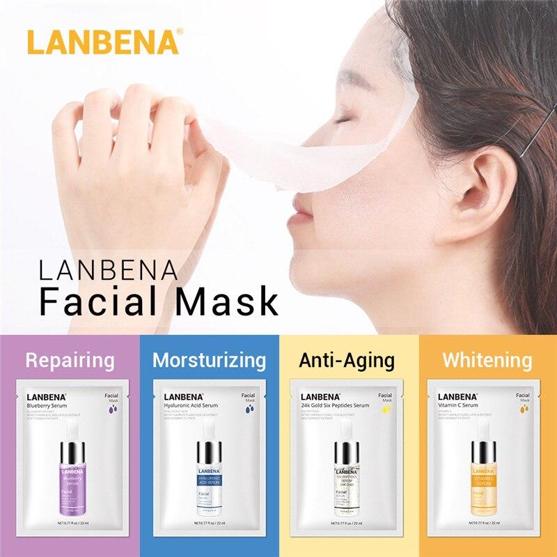 LANBENA Face Mask Microfiber Cloth Sheet Masks Hyaluronic Acid Vitamin C Serum Moisturizing Whitening Blueberry Skin Care