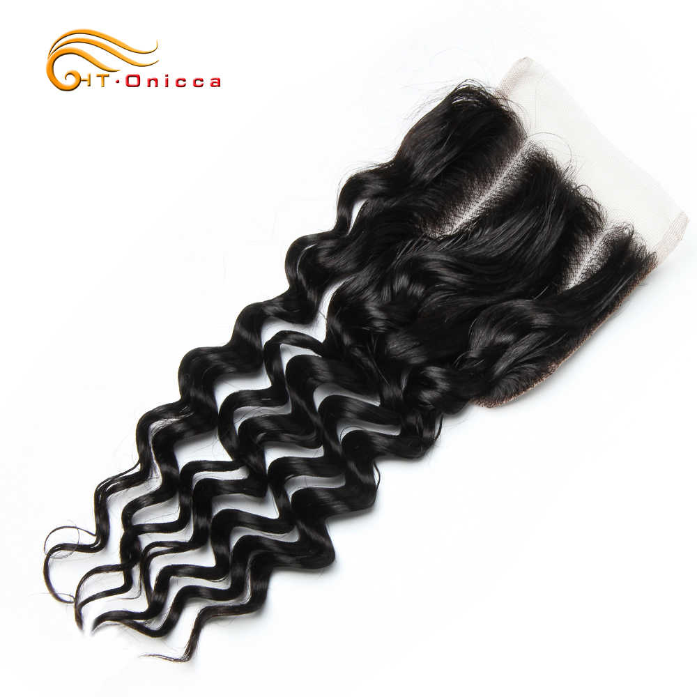 Brazilian Deep Wave Closure 100% Human Hair Closure Free Middle Three Part 4x4 Lace Closure Natural Color Non Remy Free Shipping