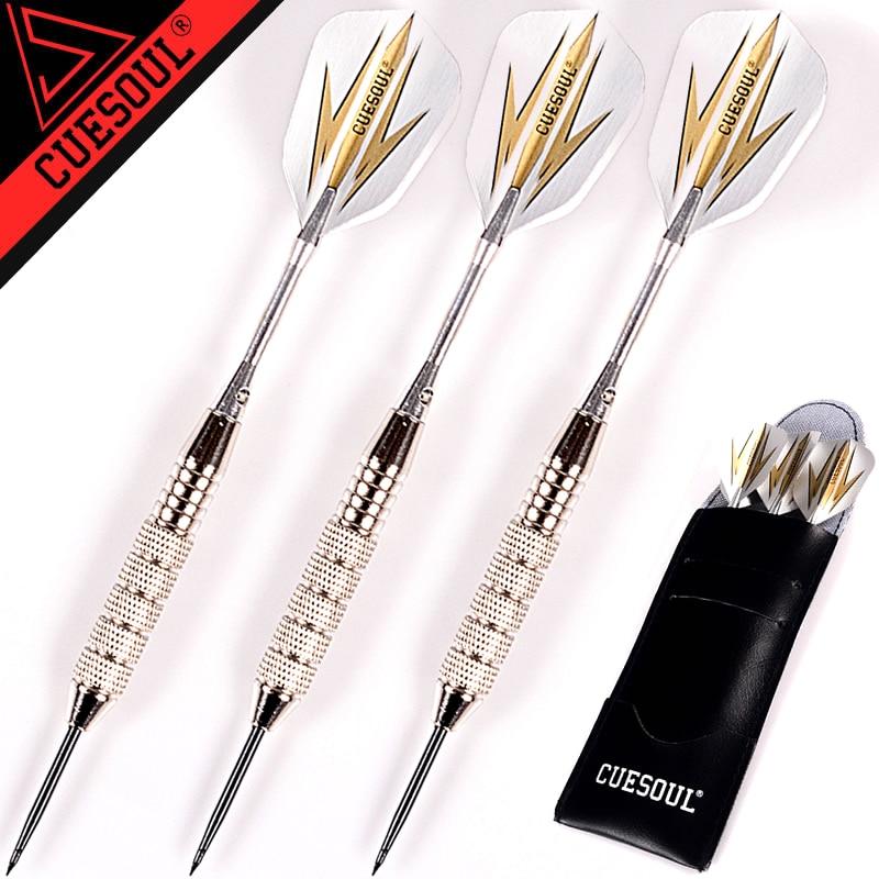 חדש CUESOUL 3pcs / set מקצועי Darts 24g 25g שחור זהב צבע פלדה עצה חצים עם אלומיניום Darts פירים