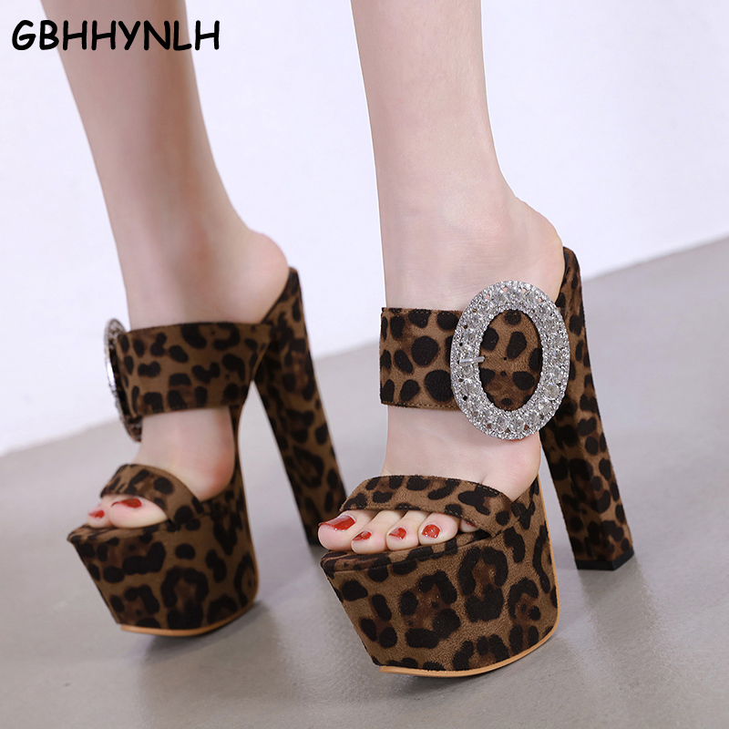 GBHHYNLH slippers women leopard sandals Open Toe <font><b>high</b></font> <font><b>heels</b></font> <font><b>Sexy</b></font> women slippers <font><b>17CM</b></font> Crystal Women Sandals leopard shoes LJA661 image