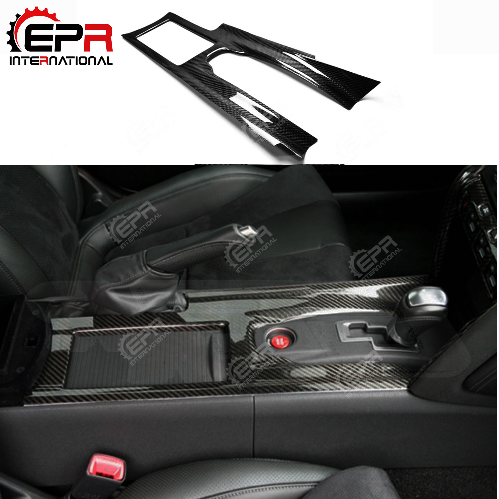 Dla Nissan R35 GTR konsola środkowa z włókna węglowego pokrywa LHD akcesoria do wnętrza samochodu GT-R wewnętrzna tapicerka zestaw do tuningu nadwozia Drift Part