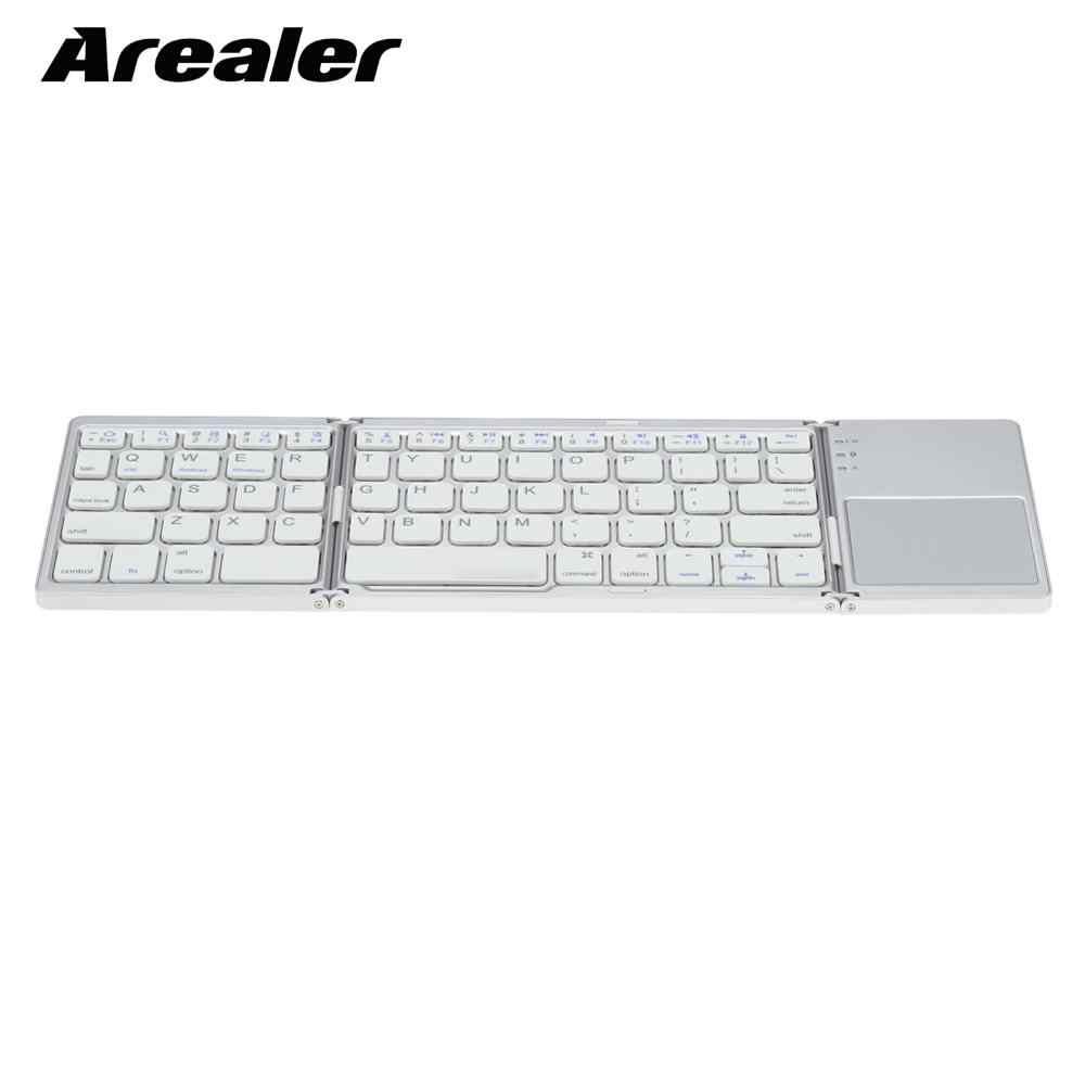 Portable Mini Ultra Slim Tipis Lipat BT Wireless Keyboard dengan Touchpad untuk iPhone 6 S/iPad Pro/ macBook Ponsel
