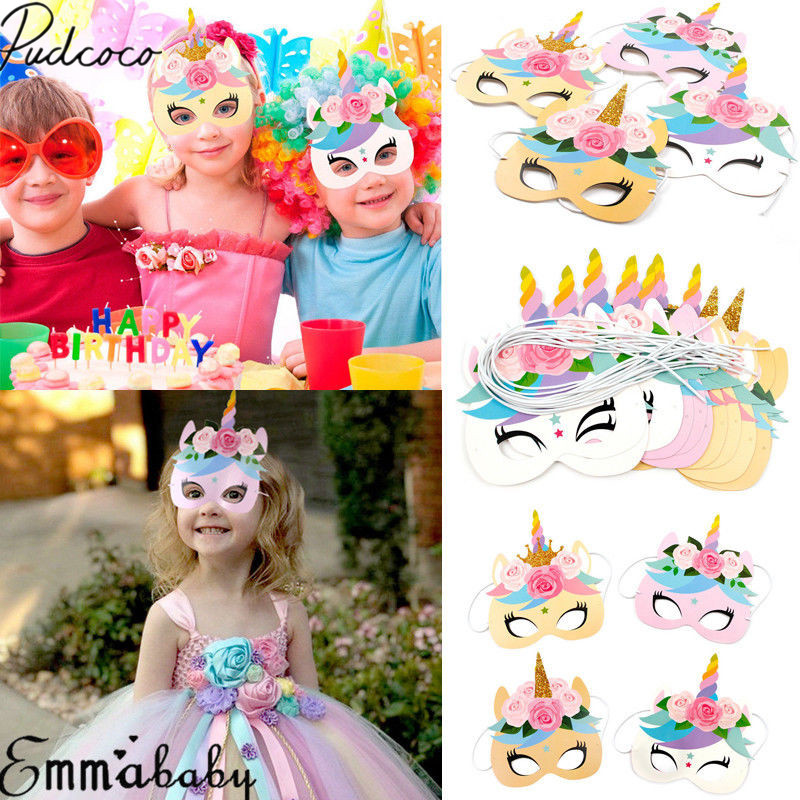 2019 Brand New 12PCS/Pack Flower Unicorn Masks Baby Party Rainbow Birthday Paper Headbands Kids Favors Headwear Photo Prop Gifts