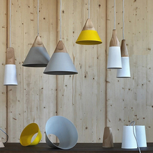 SLOPE lamps Modern brief iron pendant lights Wood and aluminum lamp restaurant bar coffee dining room LED hanging light fixture