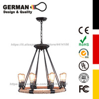 GERMAN Design and Quality Rustic Rope 4/6/8 Pendant Lighting Rustic Nautical Hanging Fixture Wrap Western Wicker home lamps