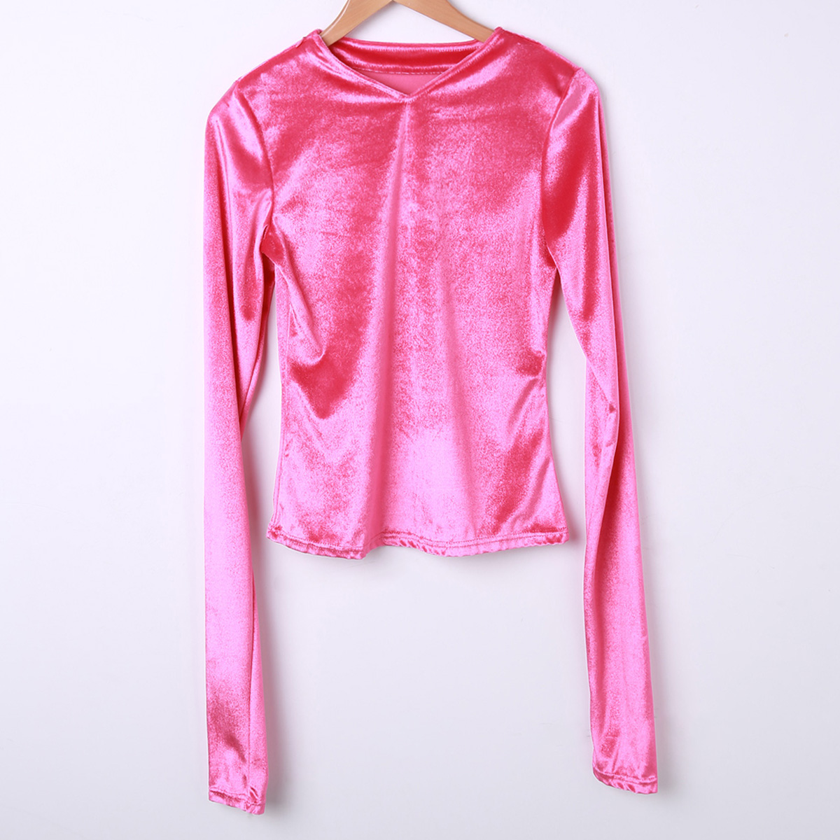 Fashion Women's Casual Velvet Long Sleeve Tops Slim Fit Casual T Shirt