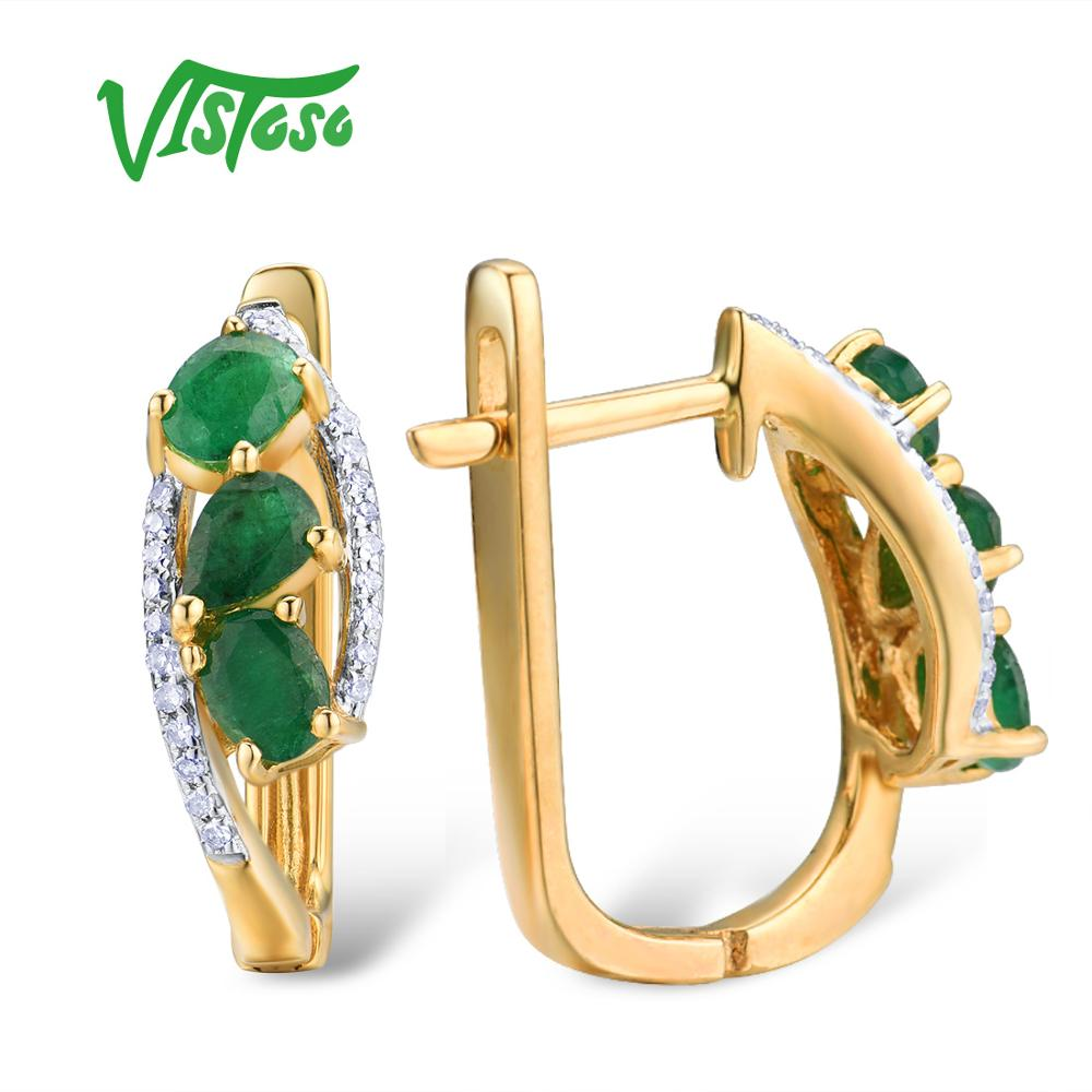 VISTOSO Gold Earrings For Women Pure 14K 585 Yellow Gold Glamorous Elegant Natural Emerald Sparkling Diamond Trendy Fine Jewelry-in Earrings from Jewelry & Accessories    3