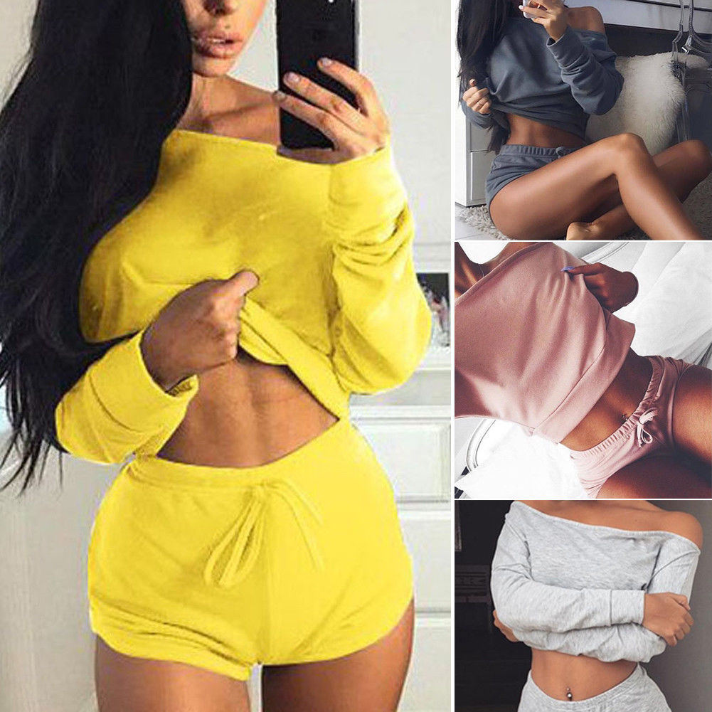 2019 New Style Hot Fashion Women Two-Piece Set Solid Tracksuit Summer Casual Crop Top Shorts Clothes New fishtail braid with hair accessory